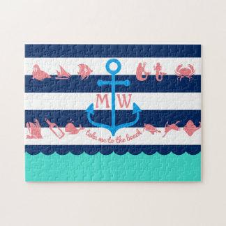 Make Your Own Nautical Summer Fun Anchor Stripes Jigsaw Puzzle