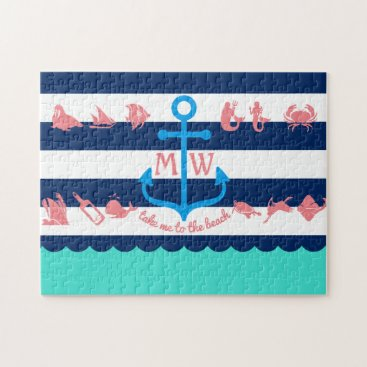Beach Themed Make Your Own Nautical Summer Fun Anchor Stripes Jigsaw Puzzle