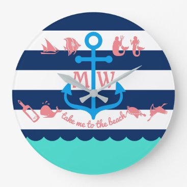 Beach Themed Make Your Own Nautical Summer Fun Anchor Stripes Large Clock