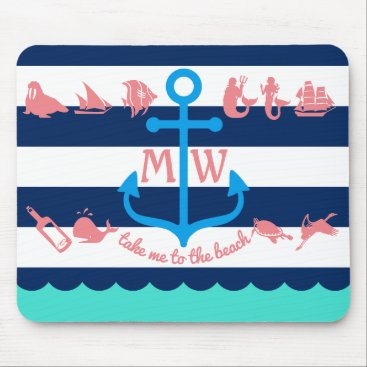 Beach Themed Make Your Own Nautical Summer Fun Anchor Stripes Mouse Pad