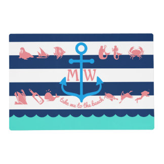Make Your Own Nautical Summer Fun Anchor Stripes Placemat