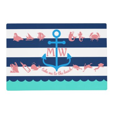Beach Themed Make Your Own Nautical Summer Fun Anchor Stripes Placemat