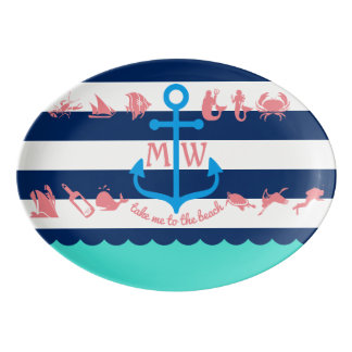Make Your Own Nautical Summer Fun Anchor Stripes Porcelain Serving Platter