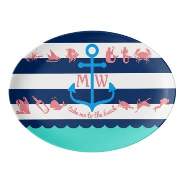 Beach Themed Make Your Own Nautical Summer Fun Anchor Stripes Porcelain Serving Platter