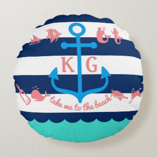 Make Your Own Nautical Summer Fun Anchor Stripes Round Pillow