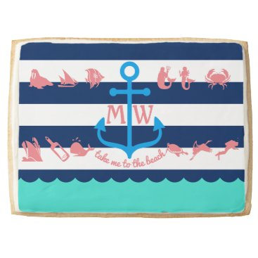 Beach Themed Make Your Own Nautical Summer Fun Anchor Stripes Shortbread Cookie