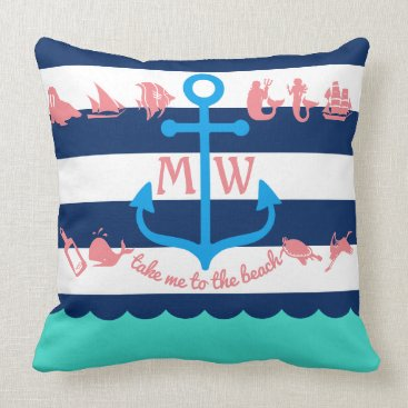 Beach Themed Make Your Own Nautical Summer Fun Anchor Stripes Throw Pillow