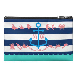 Make Your Own Nautical Summer Fun Anchor Stripes Travel Accessory Bag