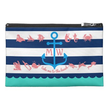 Beach Themed Make Your Own Nautical Summer Fun Anchor Stripes Travel Accessory Bag