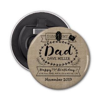Make Your Own Number 1 Dad Birthday Cute Monogram Bottle Opener