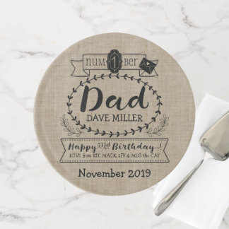 Make Your Own Number 1 Dad Birthday Cute Monogram Cake Stand