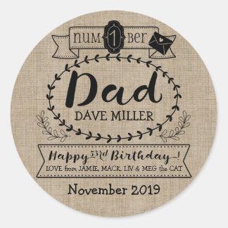 Make Your Own Number 1 Dad Birthday Cute Monogram Classic Round Sticker