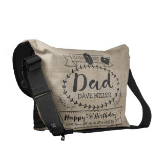 Make Your Own Number 1 Dad Birthday Cute Monogram Courier Bag