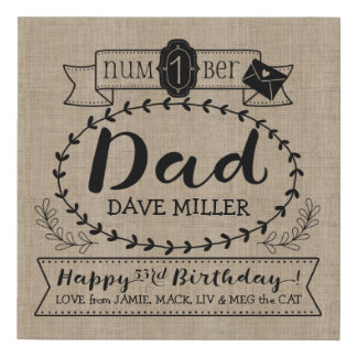 Make Your Own Number 1 Dad Birthday Cute Monogram Faux Canvas Print