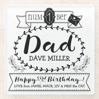 Make Your Own Number 1 Dad Birthday Cute Monogram Glass Coaster