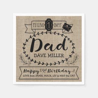 Make Your Own Number 1 Dad Birthday Cute Monogram Napkin