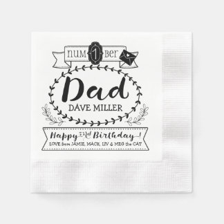 Make Your Own Number 1 Dad Birthday Cute Monogram Paper Napkin