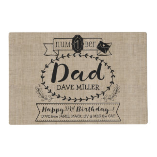 Make Your Own Number 1 Dad Birthday Cute Monogram Placemat