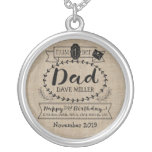 Make Your Own Number 1 Dad Birthday Cute Monogram Silver Plated Necklace