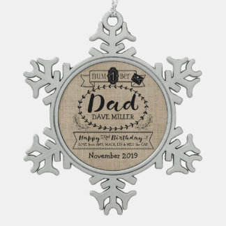 Make Your Own Number 1 Dad Birthday Cute Monogram Snowflake Pewter Christmas Ornament