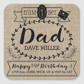Make Your Own Number 1 Dad Birthday Cute Monogram Square Sticker