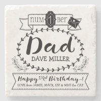 Make Your Own Number 1 Dad Birthday Cute Monogram Stone Coaster