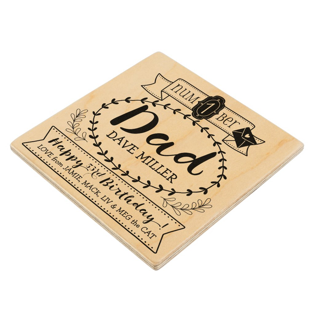 Make Your Own Number 1 Dad Birthday Cute Monogram Wood Coaster