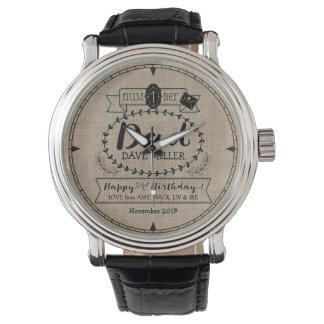 Make Your Own Number 1 Dad Birthday Cute Monogram Wrist Watch