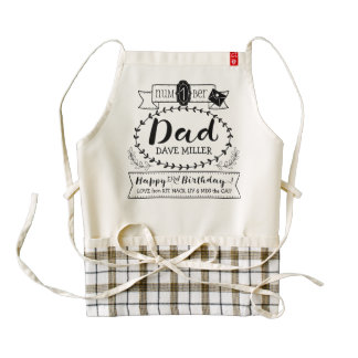 Make Your Own Number 1 Dad Birthday Cute Monogram Zazzle HEART Apron