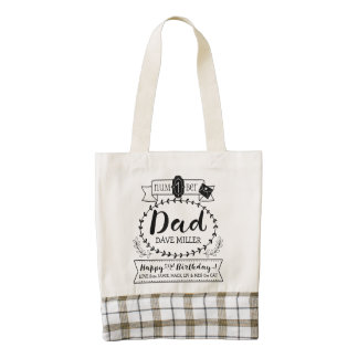 Make Your Own Number 1 Dad Birthday Cute Monogram Zazzle HEART Tote Bag