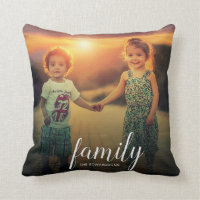 Make your own personal family photo text overlay throw pillow