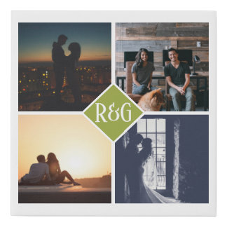 Make Your Own Personalized 4 Photo Monogram lime Faux Canvas Print