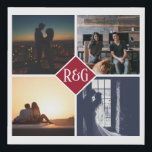 """Make Your Own Personalized 4 Photo Monogram Red Faux Canvas Print<br><div class=""""desc"""">Red Make Your Own Personalized 4 Photo Monogram keepsake wall art - Faux Wrapped Canvas Print from Ricaso - add your own photos and monogrammed text - photo collage keepsake gifts</div>"""