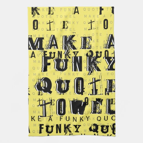 Make Your Own Personalized Funky Quote  Yellow Hand Towel
