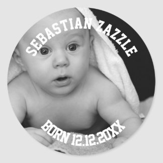 Make Your Own Personalized New Baby Round Sticker