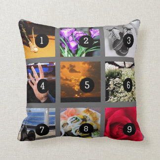 Make Your Own Photo collage with 9 images Throw Pillow