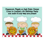 Make Your Own Pizza Birthday Party Invite Postcard