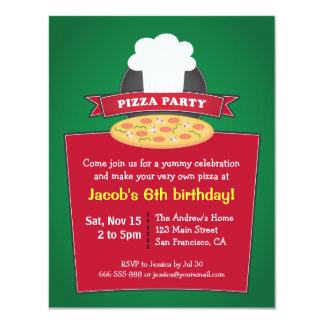 Make Your Own Pizza Kids Birthday Party 4.25x5.5 Paper Invitation Card