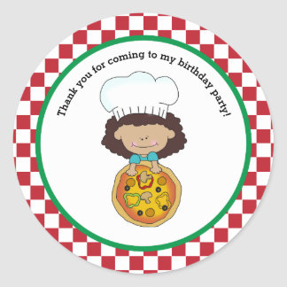 Make Your Own Pizza Party Girl Thank You Favor Classic Round Sticker
