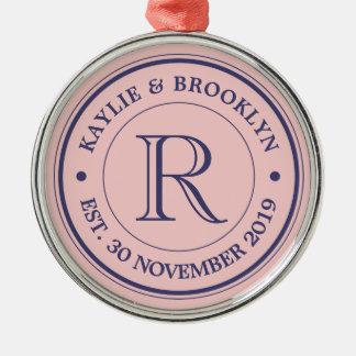 Make Your Own Rose Quartz Pink Logo Monogram Metal Ornament