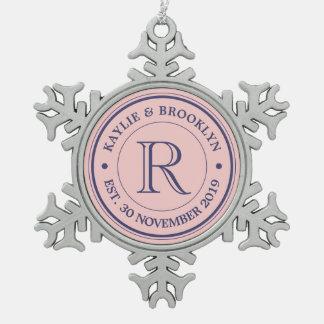 Make Your Own Rose Quartz Pink Logo Monogram Snowflake Pewter Christmas Ornament