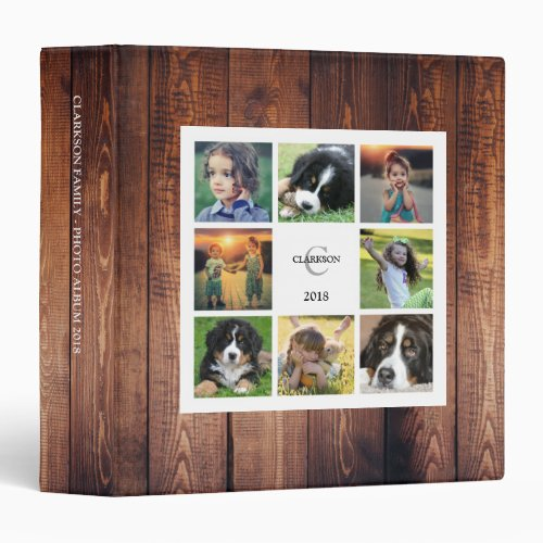 Make your own rustic family photo collage monogram 3 ring binder