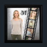 "Make Your Own Senior Portrait Retro Film Negative Keepsake Box<br><div class=""desc"">Create a cool, grungy senior portrait collage for your favorite graduate-to-be with this fully customizable picture frame template. A retro negative strip or film roll serves as a frame for five (three are fully displayed, two are partially visible) portrait photographs. The background is waiting to be replaced with your best...</div>"