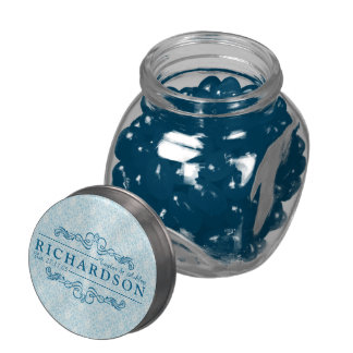 Make Your Own Sky Blue Damask Anniversary Monogram Glass Jar