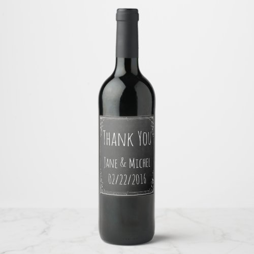 Make your own Vintage Thank you On Chalkboard Wine Label