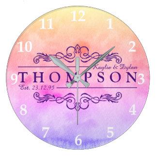 Make Your Own Watercolor Anniversary Monogram Large Clock