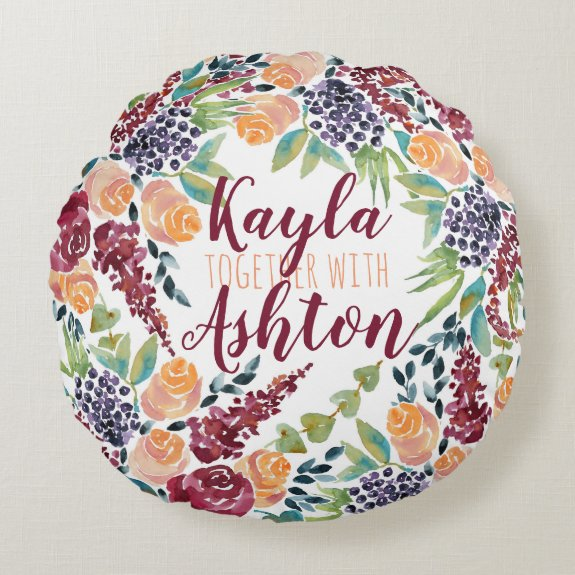 Make Your Own Watercolor Hand-Painted Art Bouquet Round Pillow