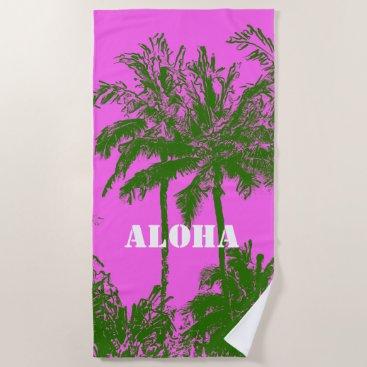 Beach Themed Makena Beach Hawaiian Sketchy Palms Fuchsia Beach Towel