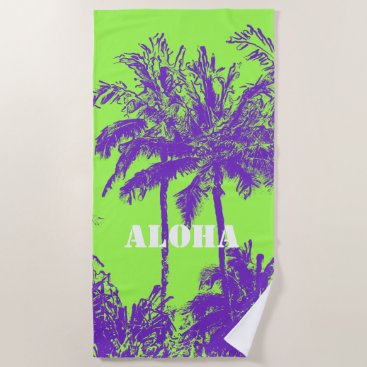 Beach Themed Makena Beach Hawaiian Sketchy Palms Lime Beach Towel