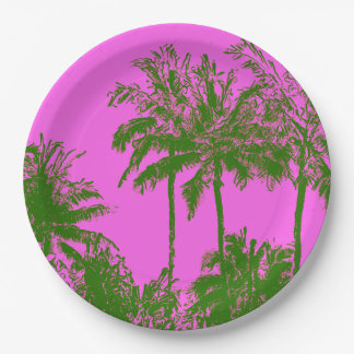 Makena Beach Hawaiian Sketchy Palms Paper Plate